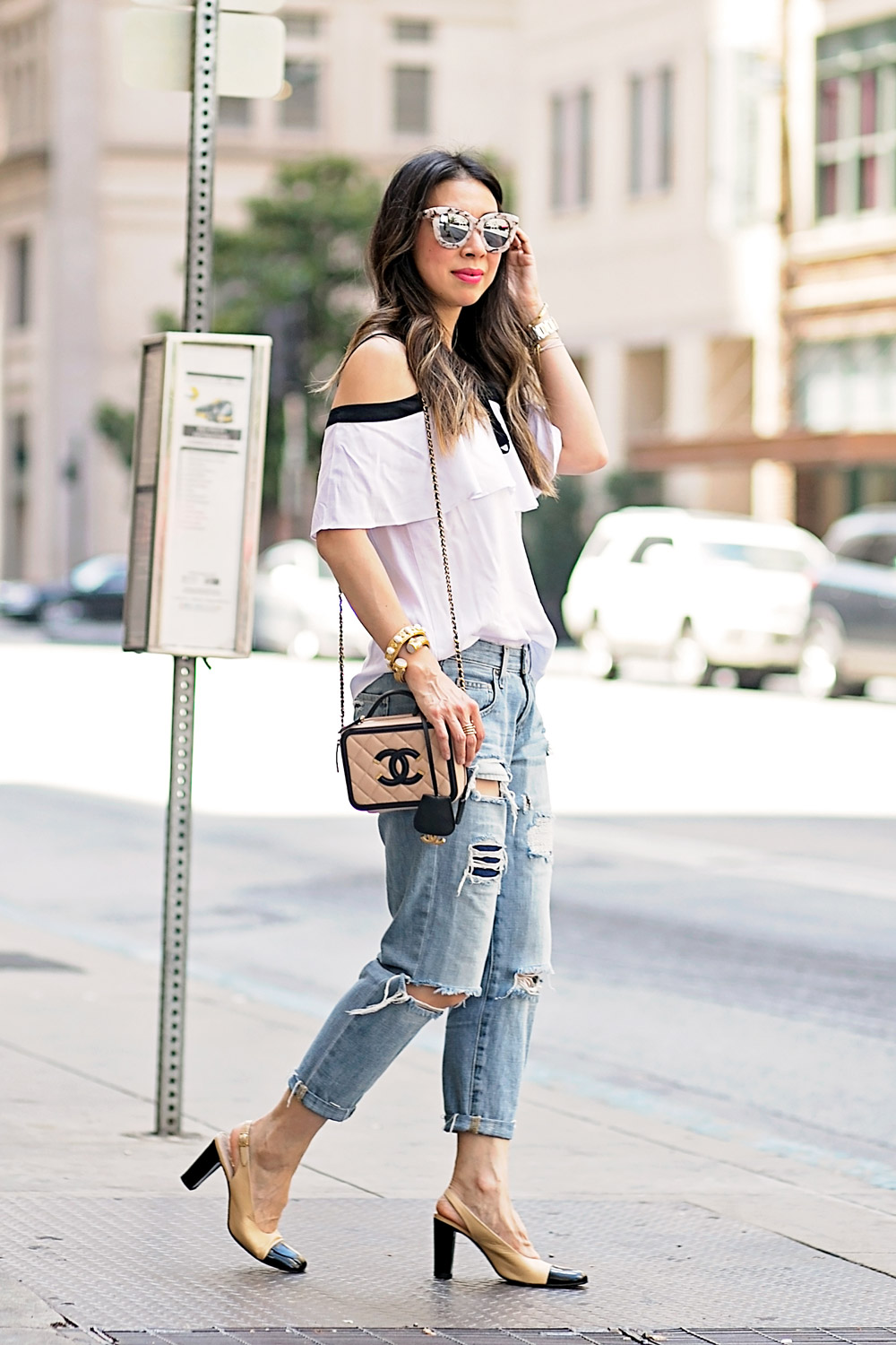 ruffle cold shoulder top, boyfriend jeans, chanel vanity bag 2016