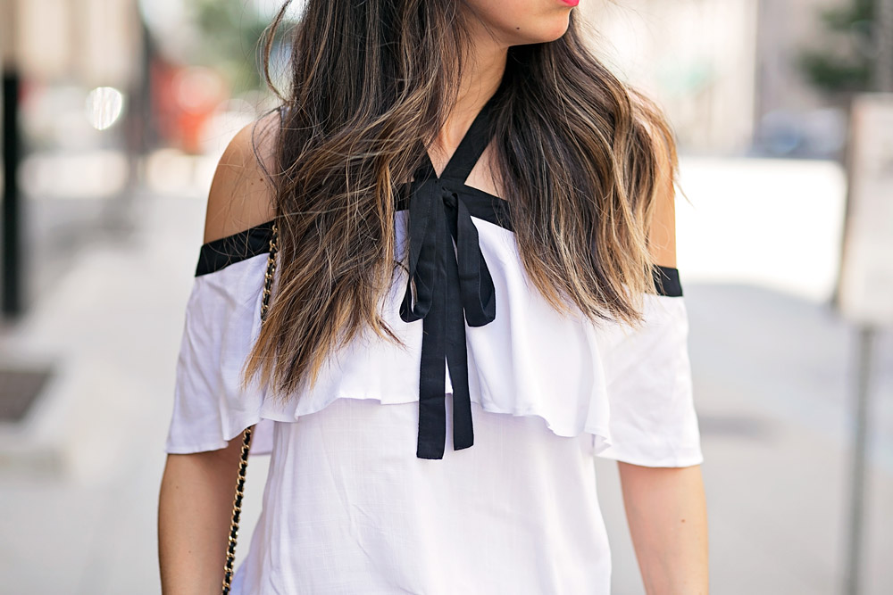 black and white ribbon ruffle cold shoulder top