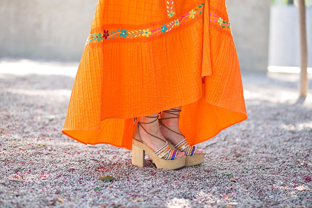 orange embroidered mexican dress,