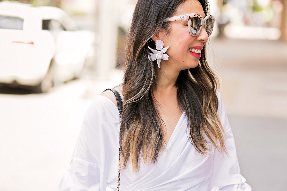 statement sleeve top, lele sadoughi lily earrings, quay sugar and spice sunglasses