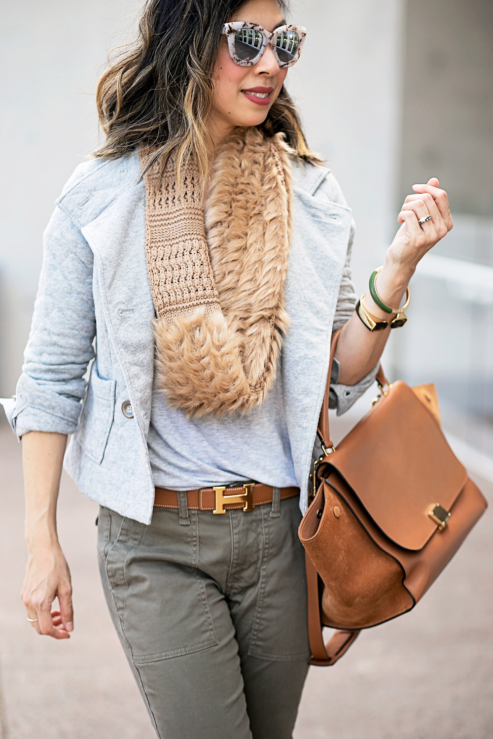 cabi quilted jacket and duchess scarf with hermes belt for a weekend outfit