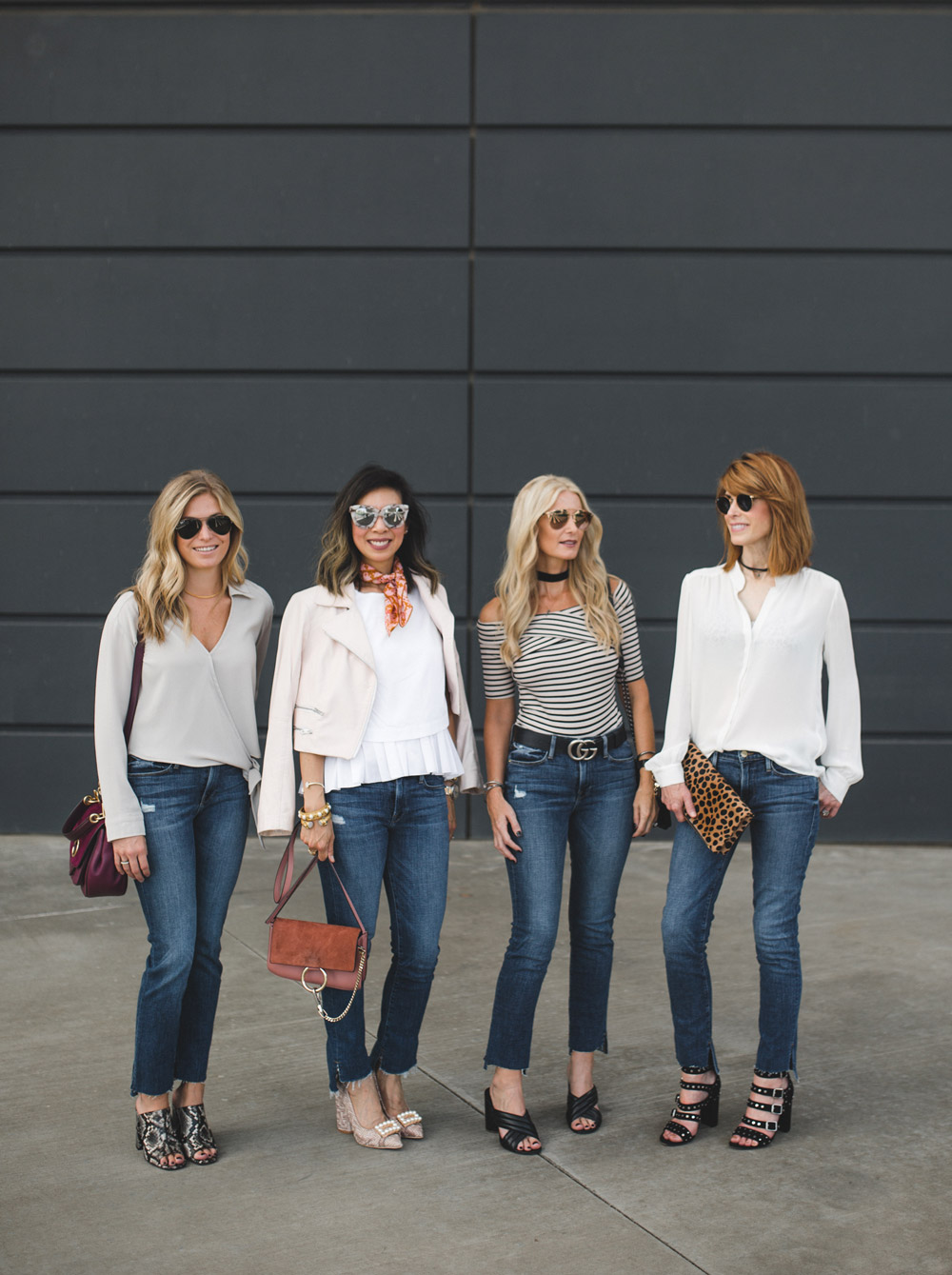 four ways to wear staggered hem jeans