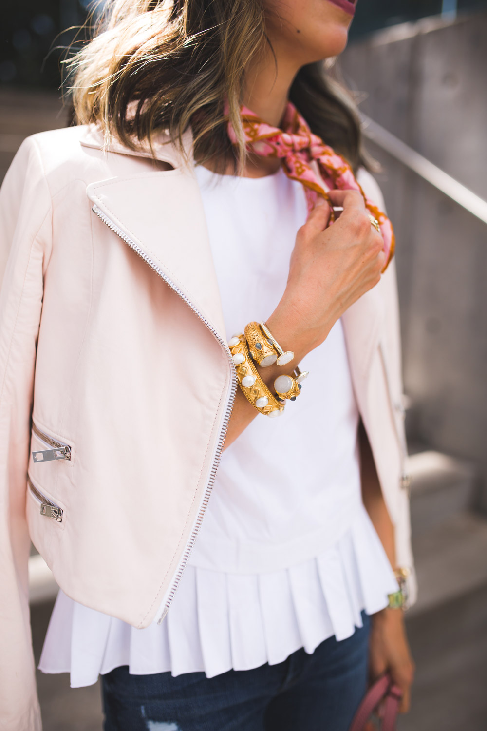 julie vos baroque cuff, cuyana pleated top, rag and bone pink moto jacket