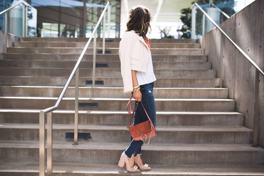 frame uneven hem jeans, cuyana pleated top, rag and bone pink moto jacket
