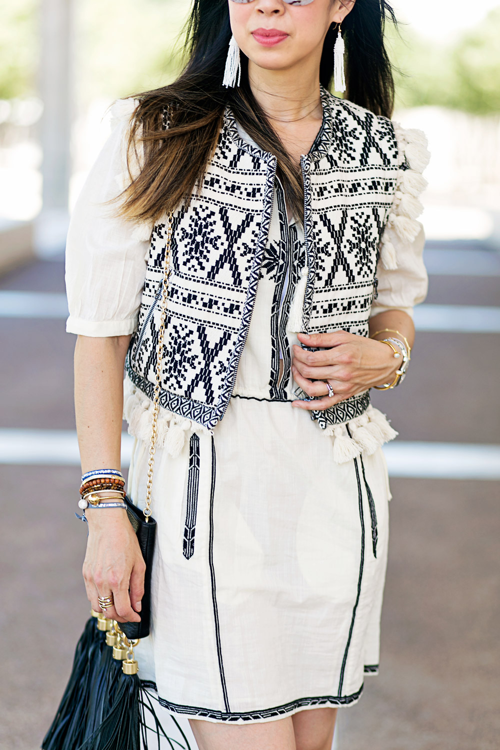 sea new york tassel statement vest, isabel marant rebel dress joss sandals