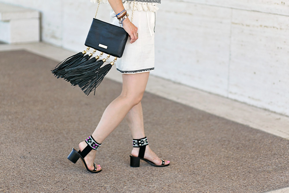 zac posen claudette tassel clutch, isabel marant rebel dress joss sandals