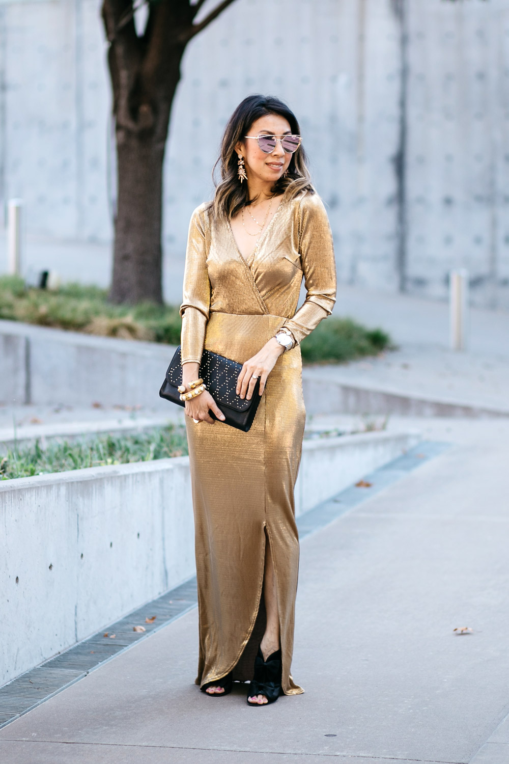 missguided gold wrap pleated dress with vera bradley black clutch and chanel peep-toe booties