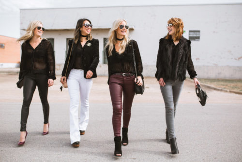 four different bloggers wearing paige velvet top