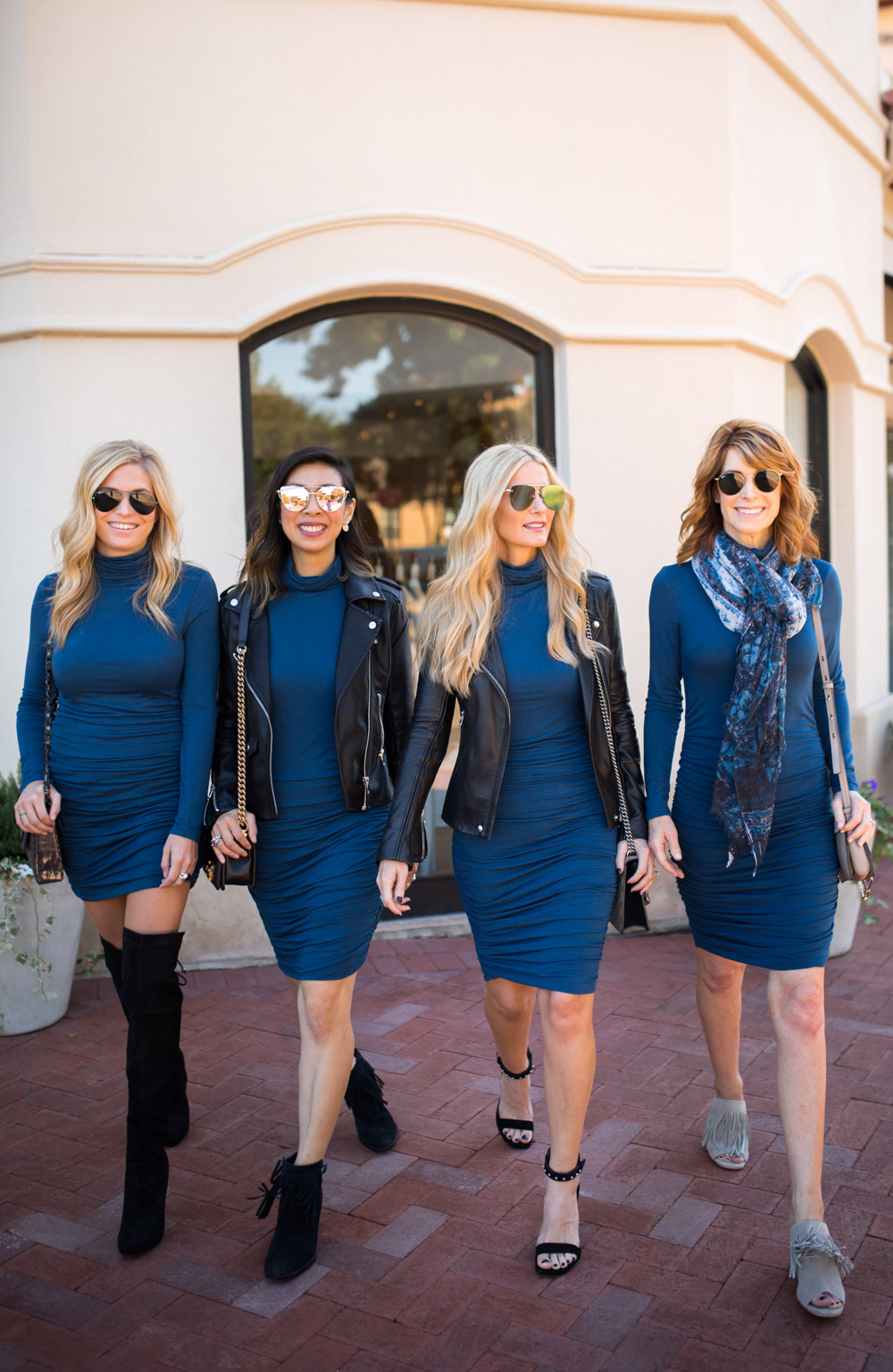 blue ruched turtleneck dress styled different ways