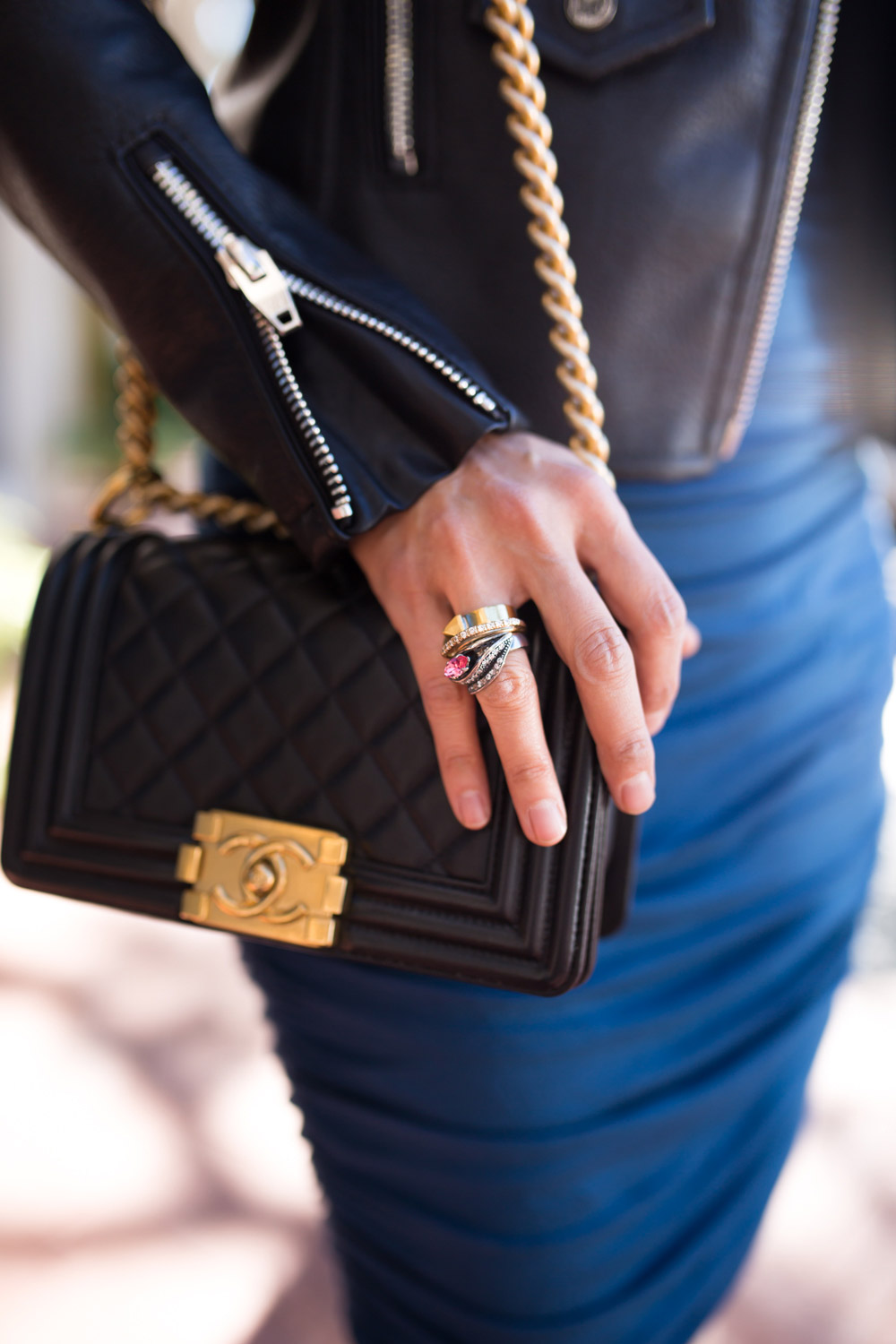 chanel boy bag and iosselliani ring stack