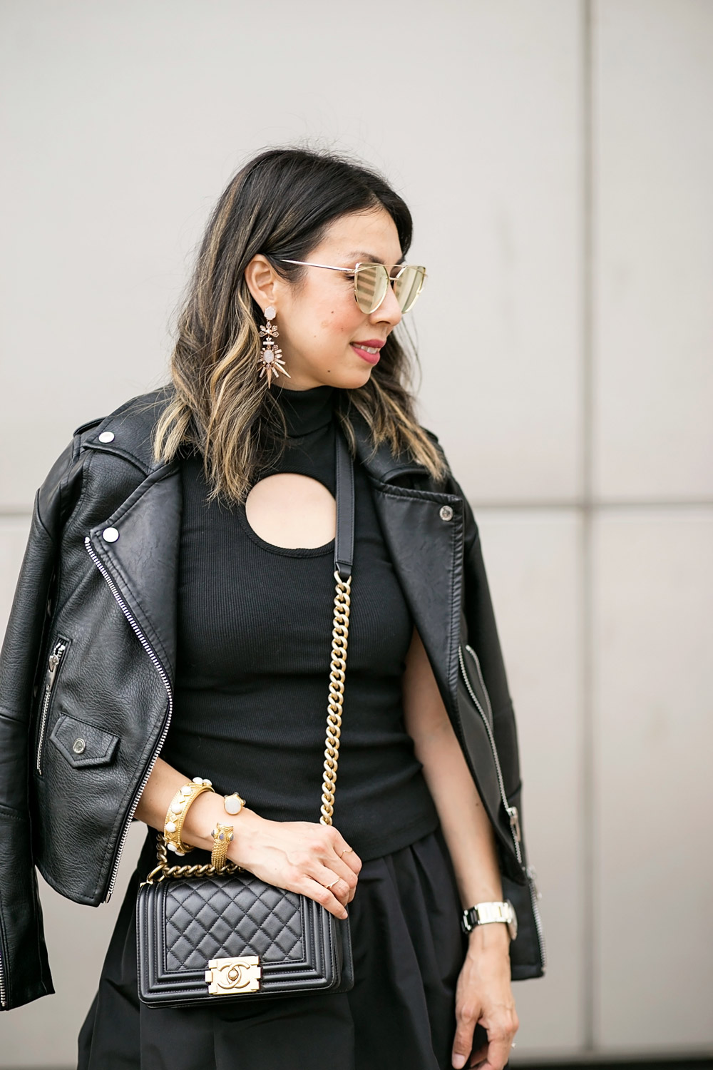 kendra scott isadora earrings, black keyhole turtleneck, moto jacket