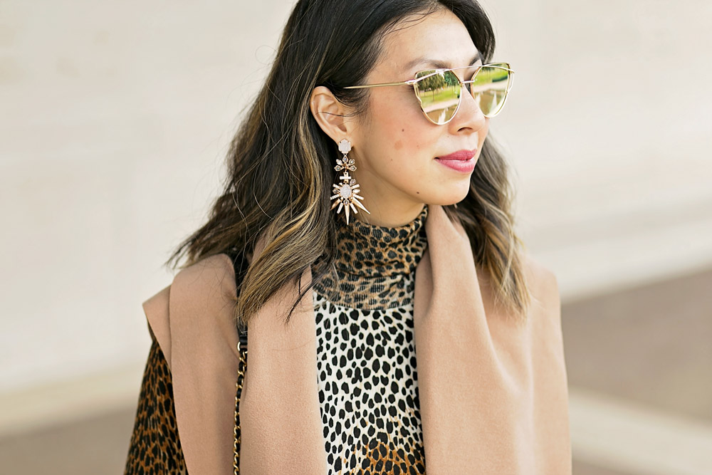 kendra scott isadora earrings, dolce and gabbana leopard print dress and camel vest