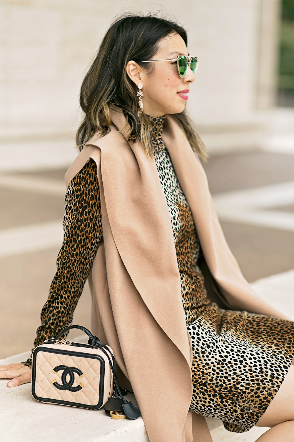 dolce and gabbana leopard print dress and camel vest, chanel filigree vanity bag