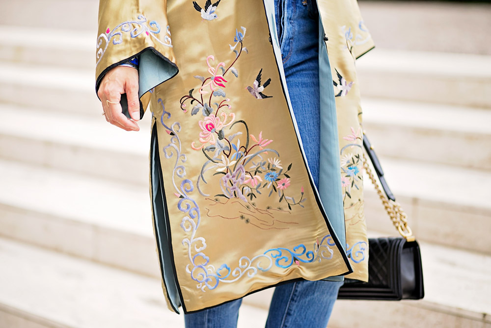 gold embroidered asian robe with levi's mom jeans