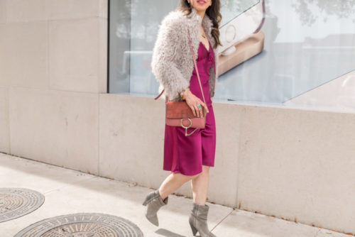 pink slip dress with iro kald fur jacket isabel marant lance booties rose chloe faye
