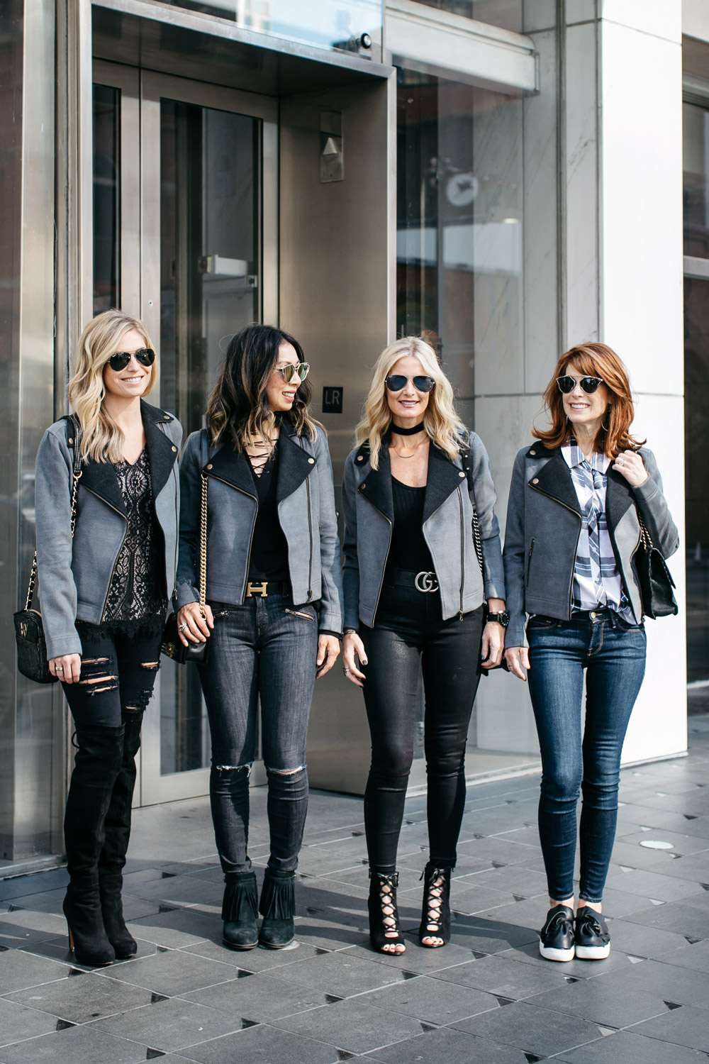 four ways to style a grey and black moto jacket