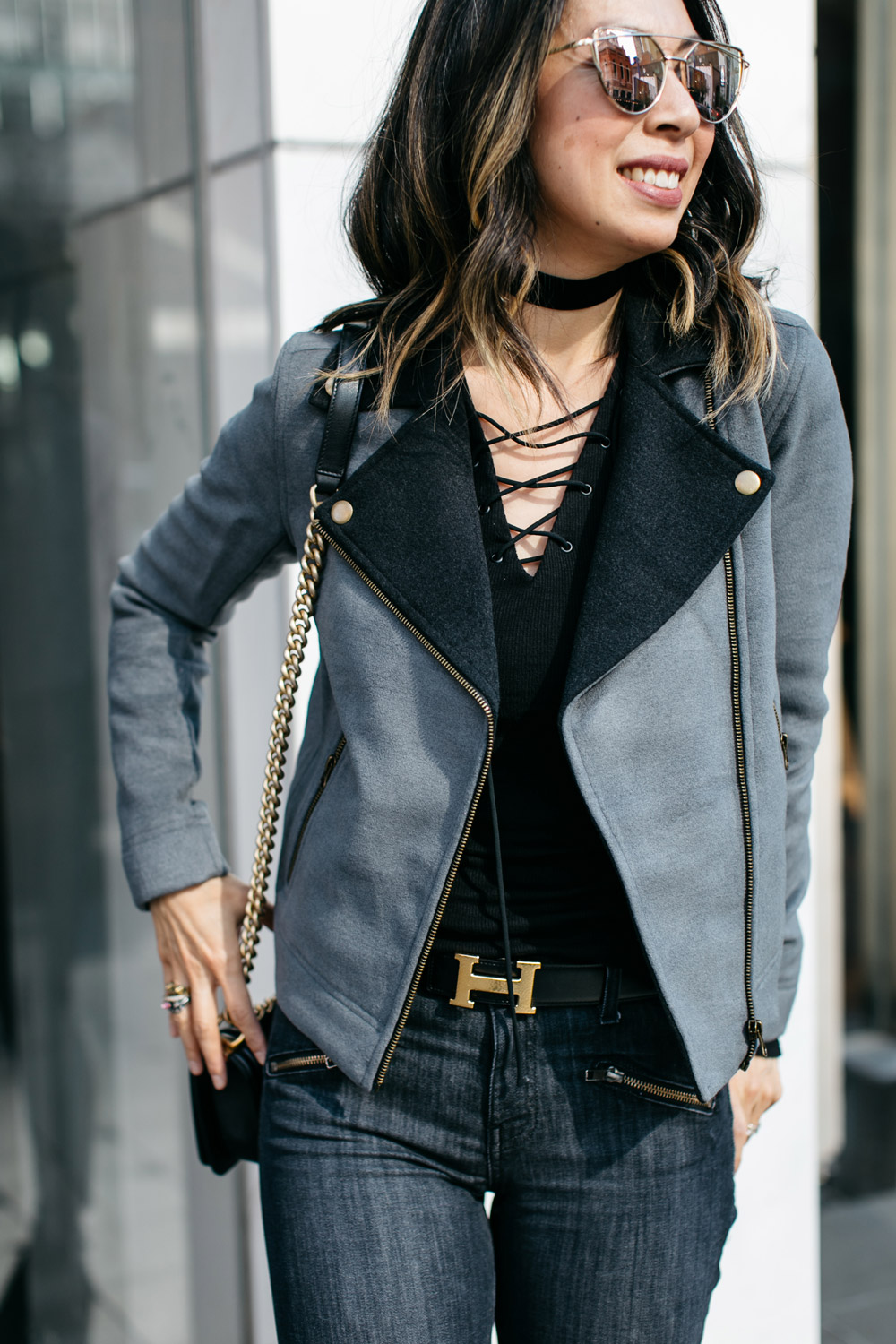 lilla p moto jacket with lace up tee and hermes belt