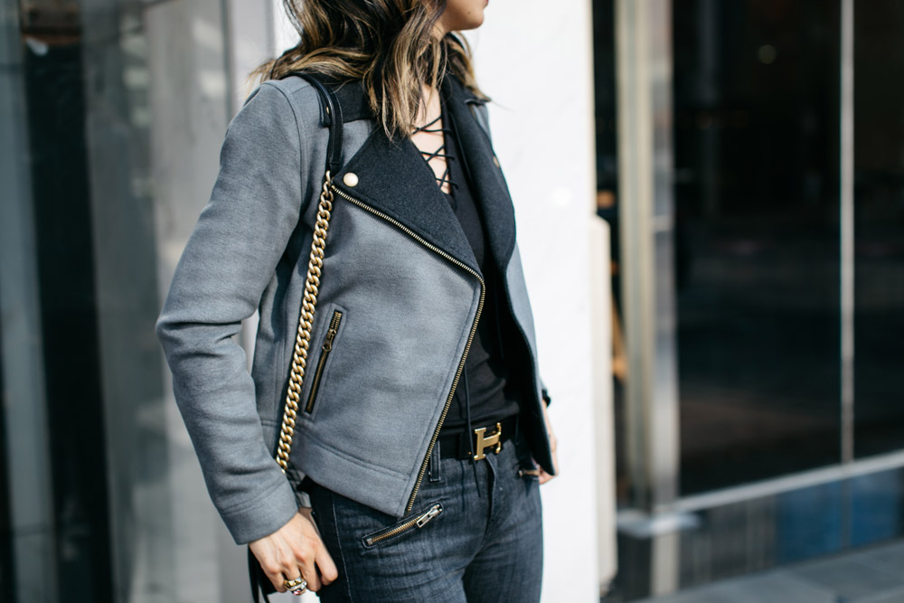 lilla p moto jacket with lace up tee and hermes belt, current elliot soho zip jeans