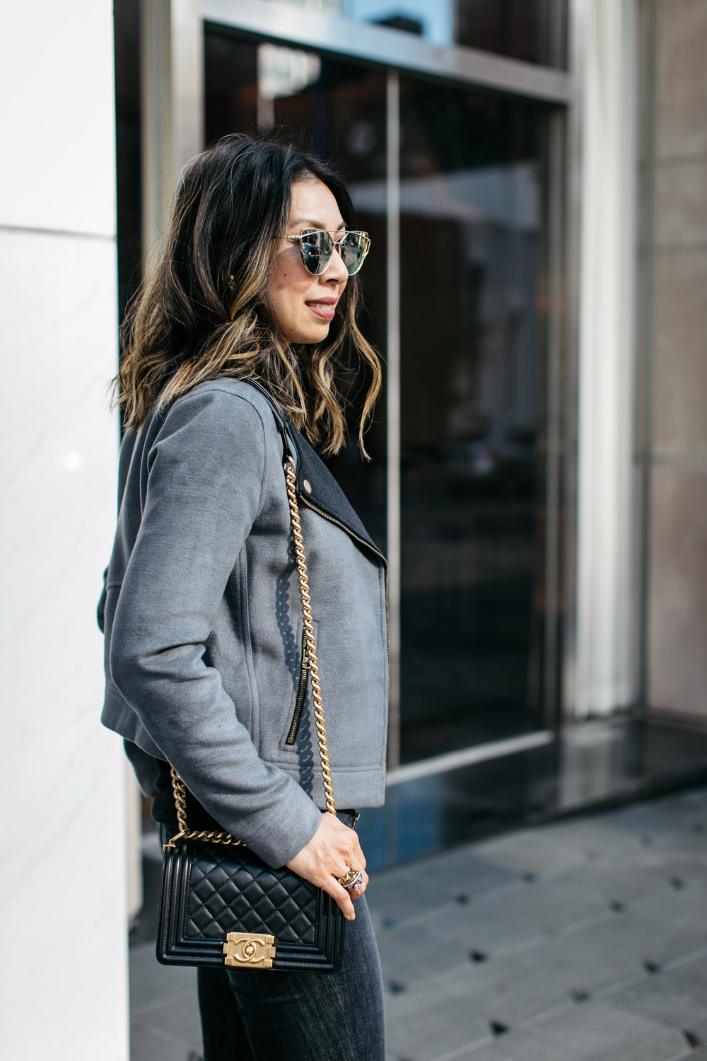 lilla p moto jacket with chanel boy bag