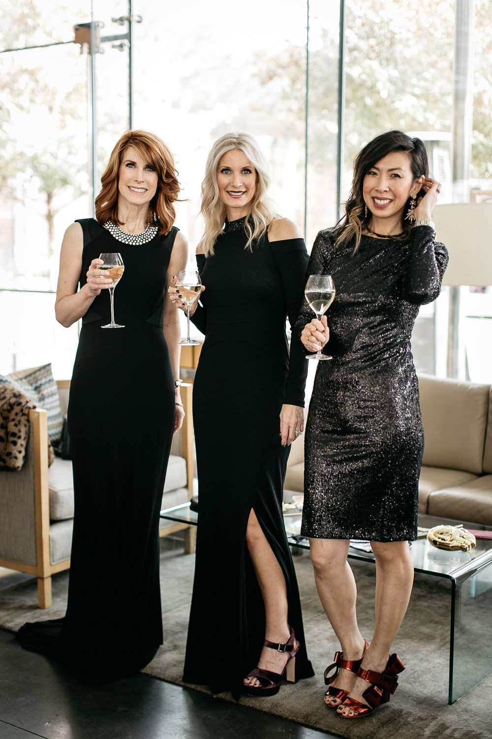 WHBM LONG SLEEVE BLACK SEQUIN SHEATH DRESS and holiday party dresses