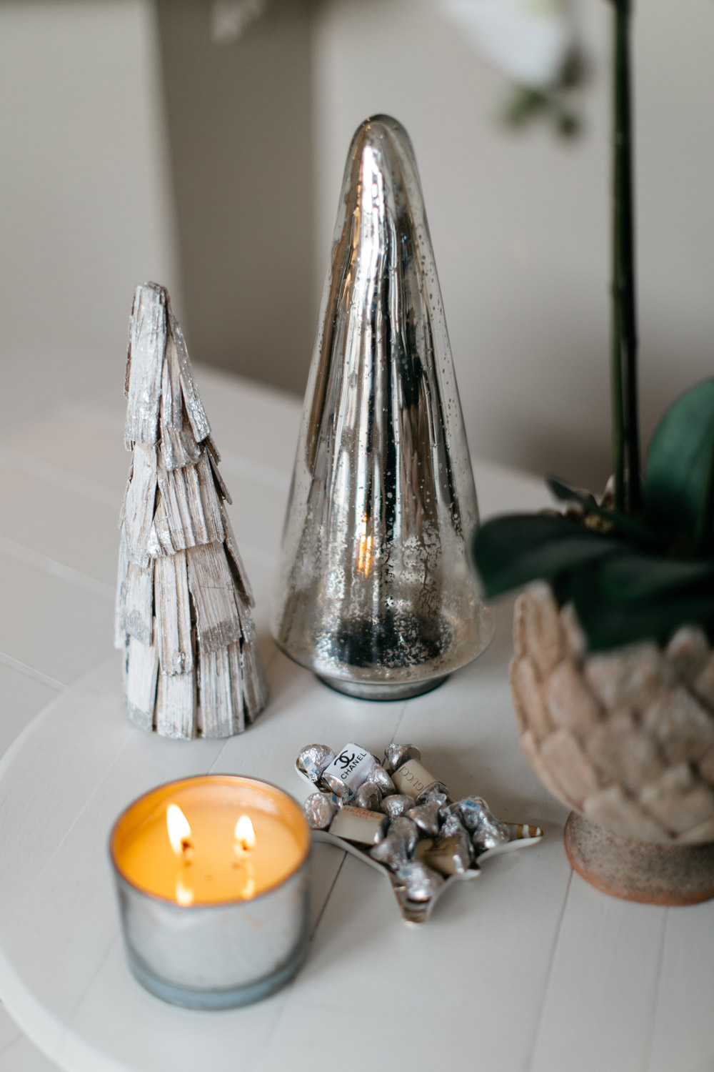 silver christmas tree holiday decor