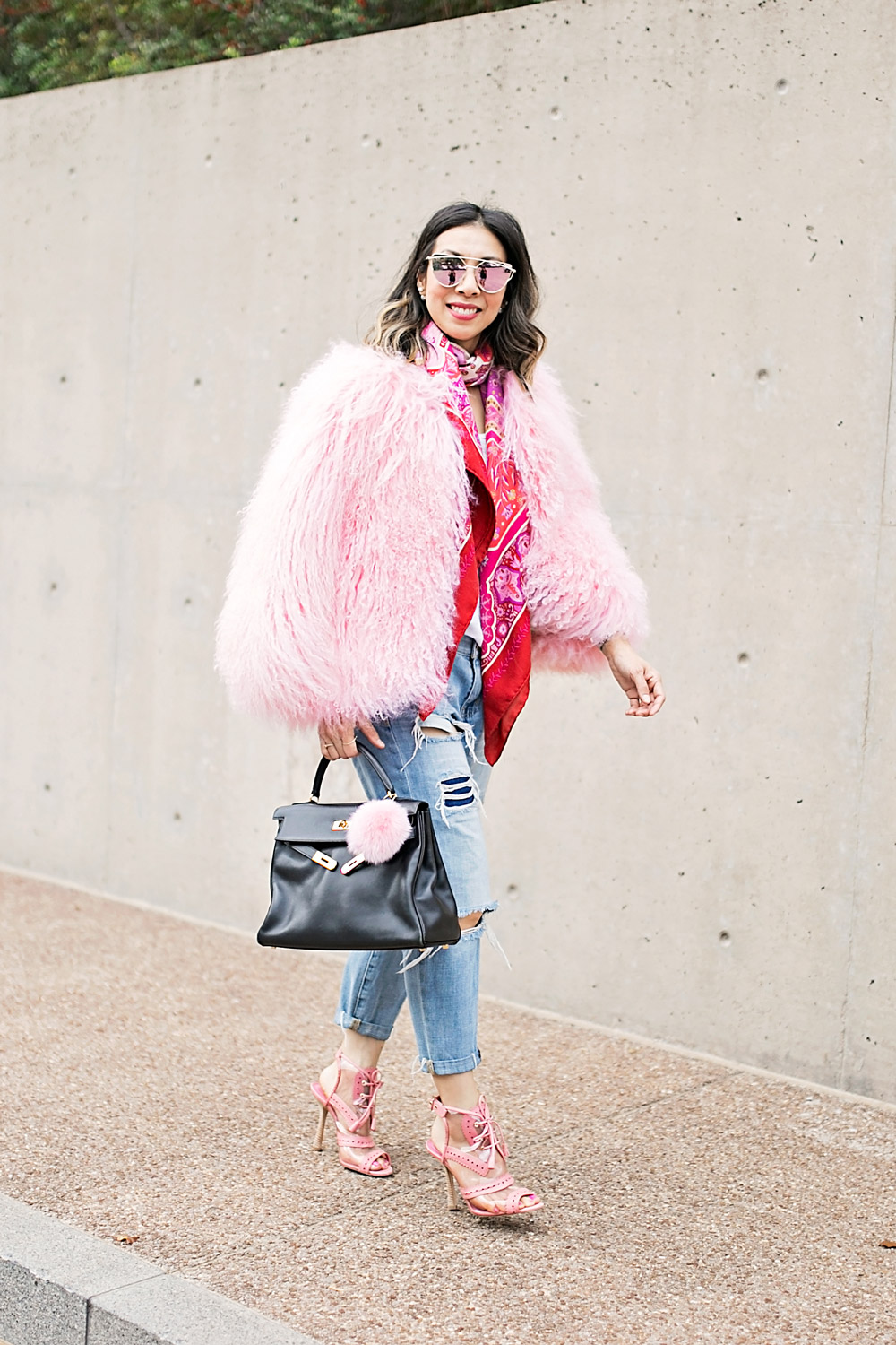 charlotte simone pink fur jacket with ripped boyfriend jeans, black hermes kelly and oscar de la renta pink oxford heels
