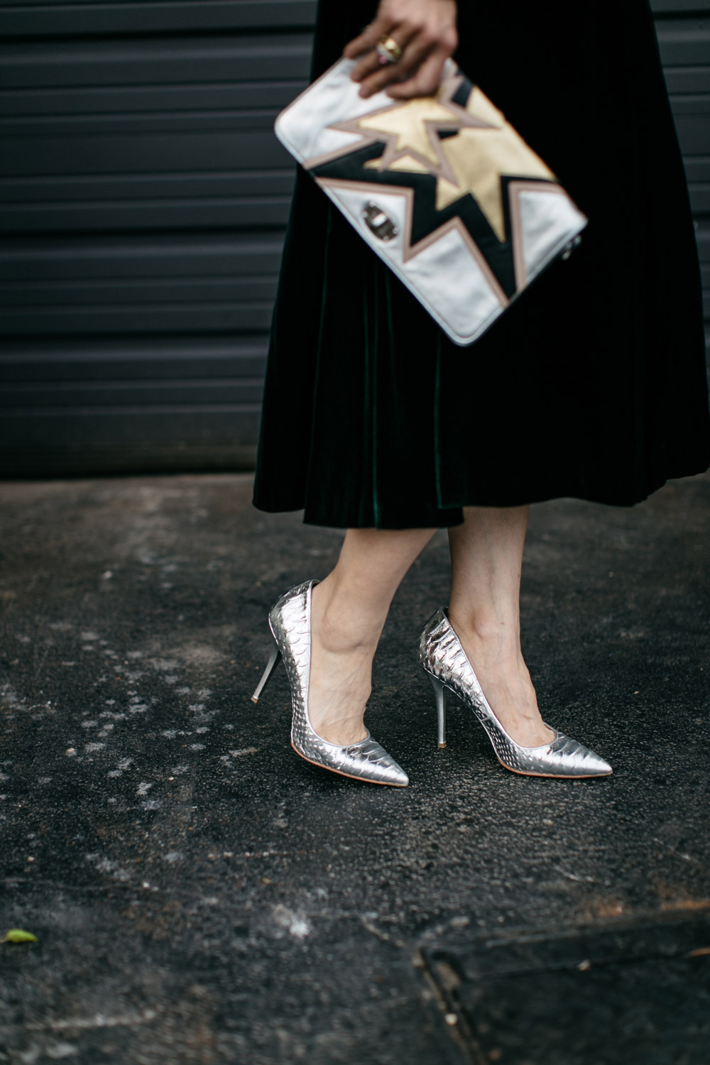 brian atwood silver pumps, black midi skirt, miu miu star clutch