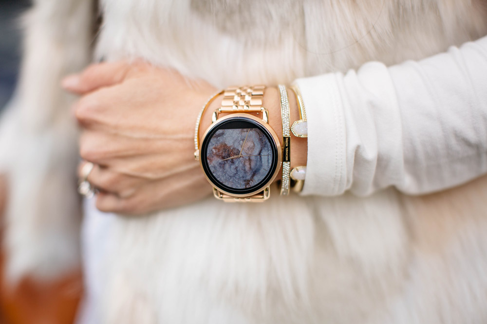 winter white outfit with hat, fossil q wander rose gold watch and bracelets