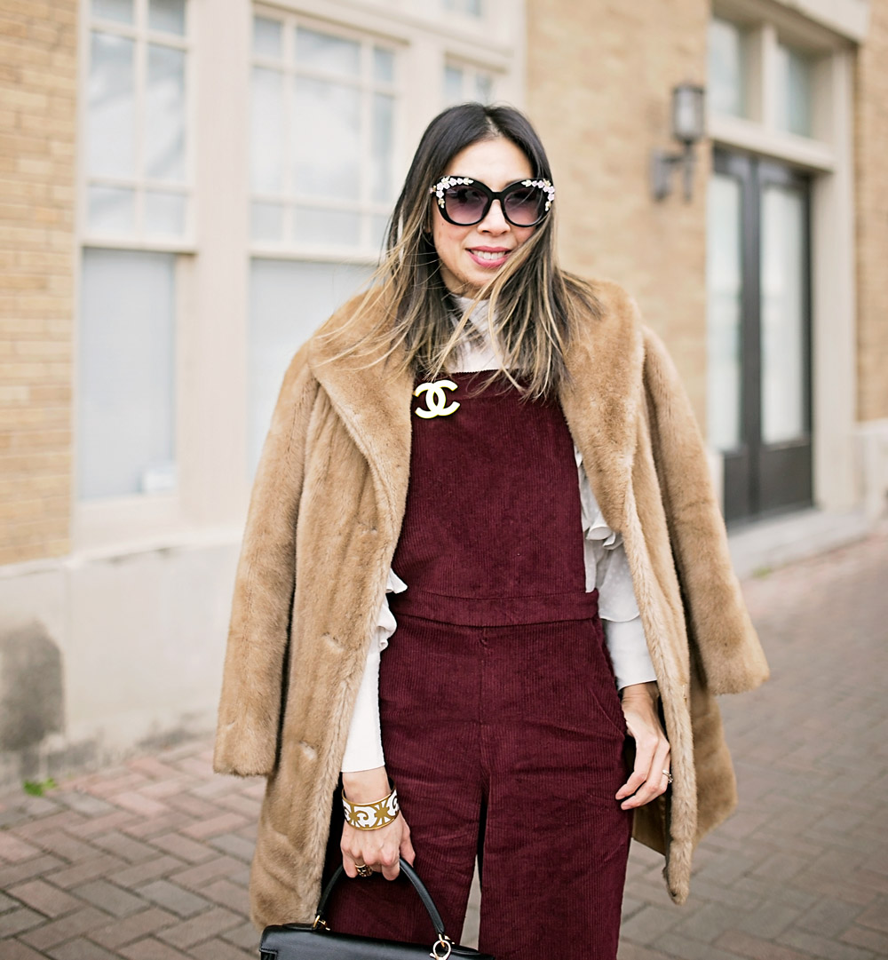 burgundy corduroy overalls chanel brooch brown faux fur coat
