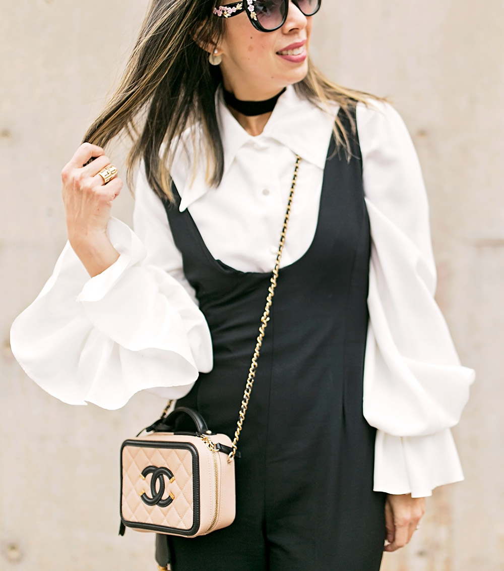From Grandma with Love // Black Jumpsuit + Statement Sleeve Blouse