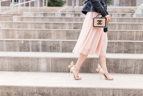 sophia webster chiara heel with tulle skirt, black moto jacket, chanel filigree vanity bag