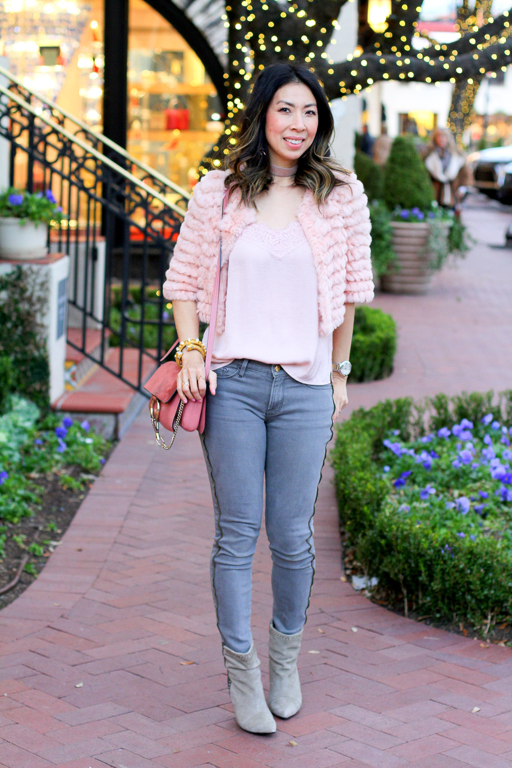 bcbg pink fur jacket with tank, frame side zip grey skinny jeans, isabel marant grey boots, chloe faye rose pink bag