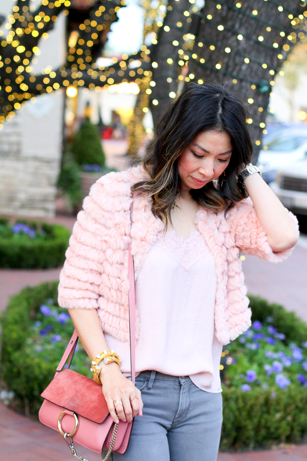 bcbg pink fur jacket with tank, frame side zip grey skinny jeans, chloe faye rose pink bag