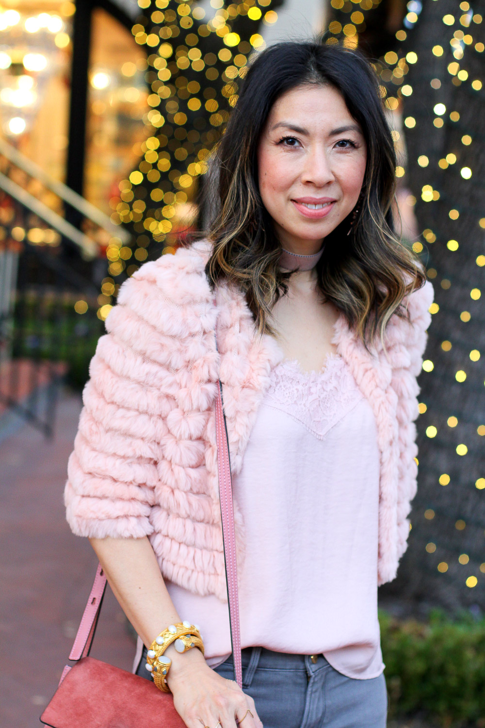 bcbg pink fur jacket with tank, frame side zip grey skinny jeans, isabel marant grey boots