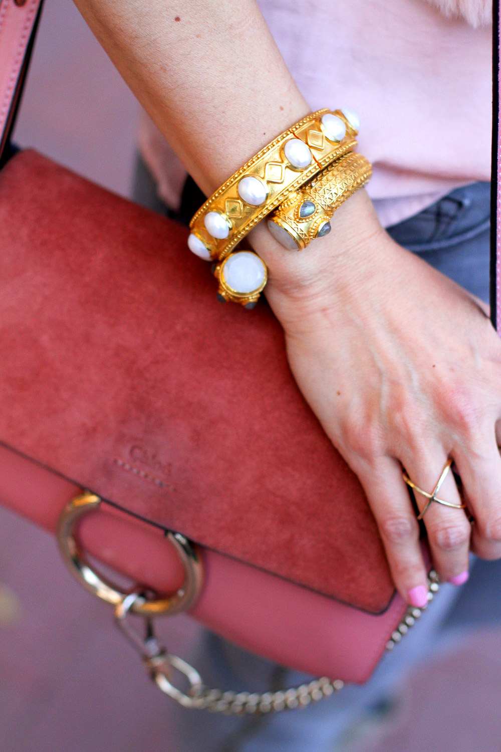 julie vos baroque bracelet, chloe faye rose pink bag