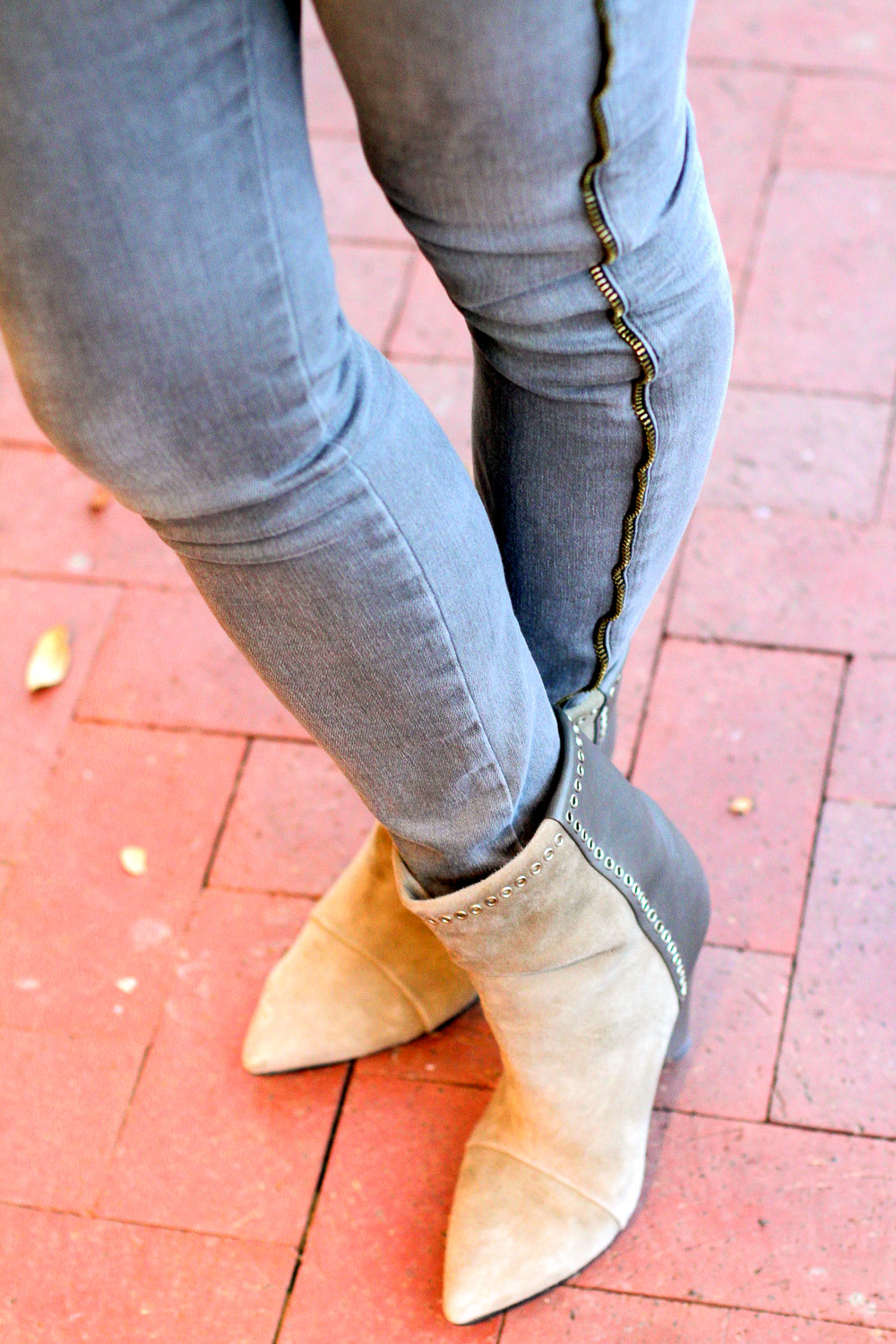frame side zip grey skinny jeans, isabel marant grey boots
