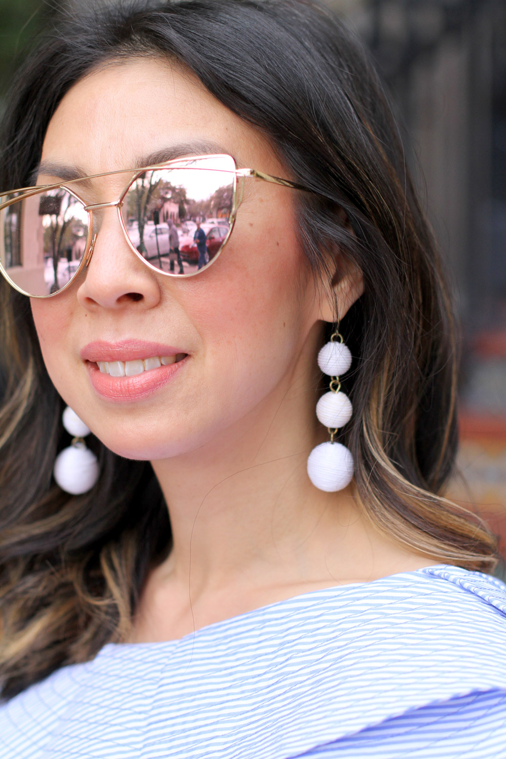 stylekeepers ruffle one shoulder top and baublebar white crispin drop earrings, T+J design rosegold sunglasses