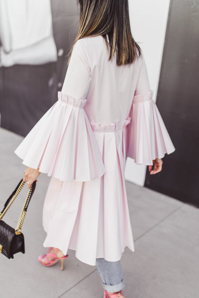 charles youssef pink pleated tunic top with boyfriend jeans, oscar de la renta pink oxford heels and chanel boy bag