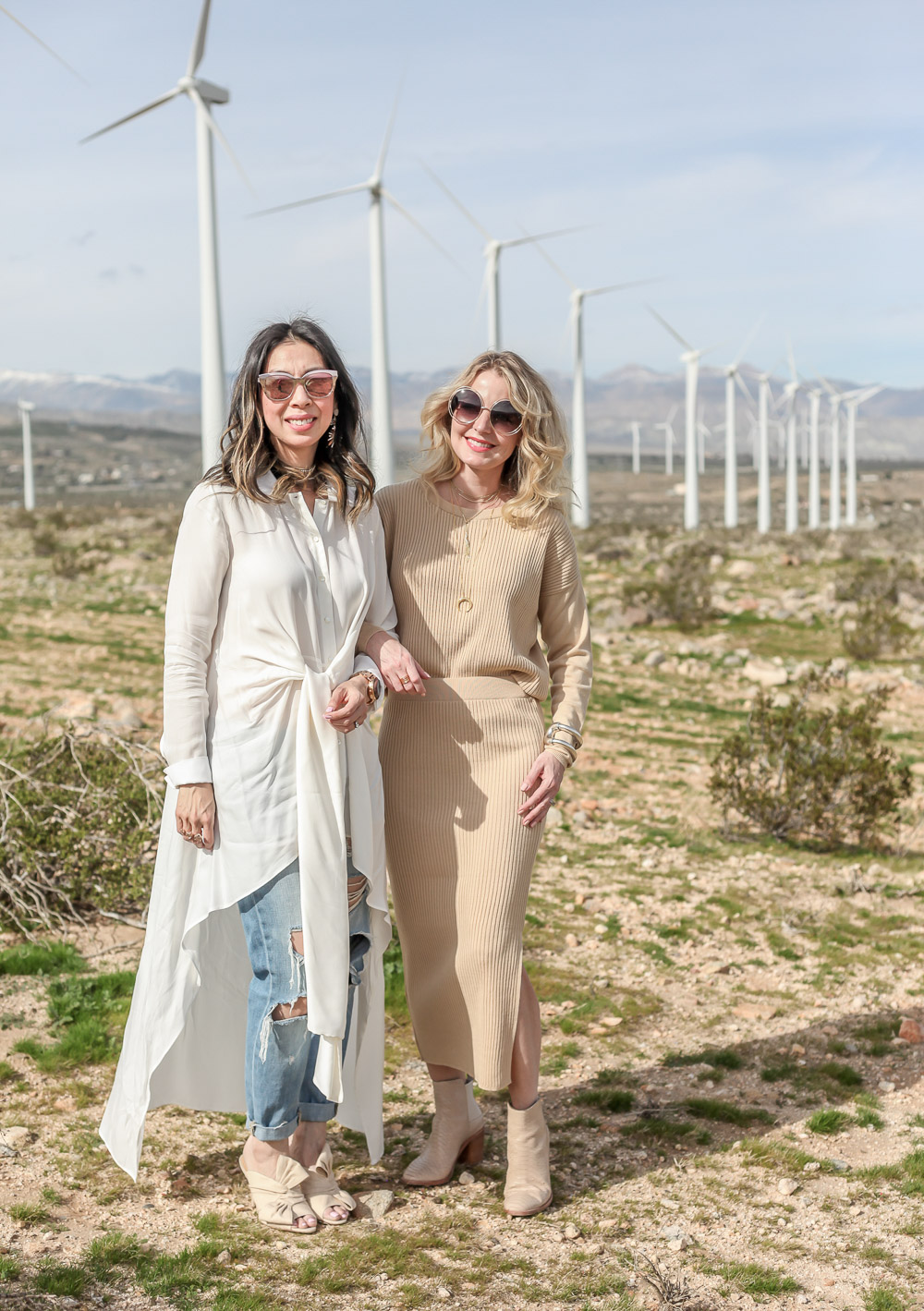 palmer harding waterfall shirt with ripped boyfriend jeans and charlotte olympia ilona bow mules at palms springs wind farm and blogger friend erin of busbee style