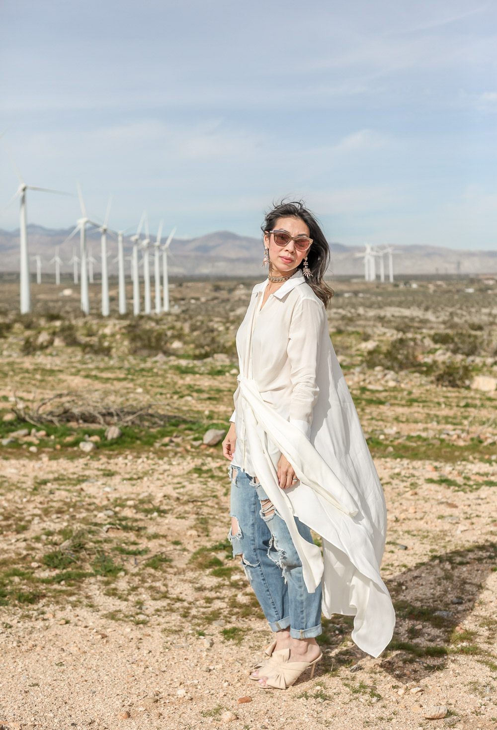 palmer harding waterfall shirt with ripped boyfriend jeans and charlotte olympia ilona bow mules at palms springs wind farm