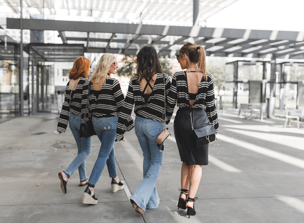 chic at every age, how to wear a striped bell sleeve top