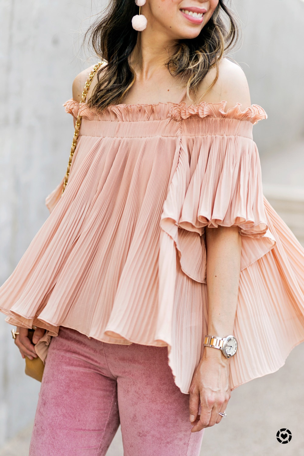 style of sam | endless rose pink pleated off the shoulder top