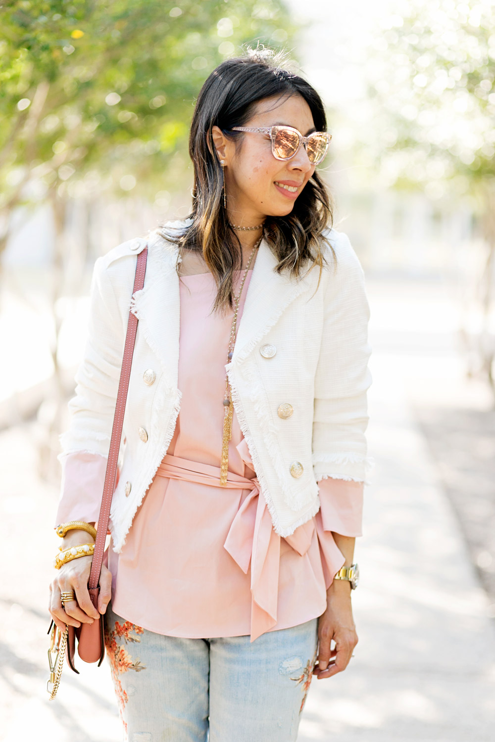 whbm pink off the shoulder top and tweed admiral jacket with rose pink chloe faye bag