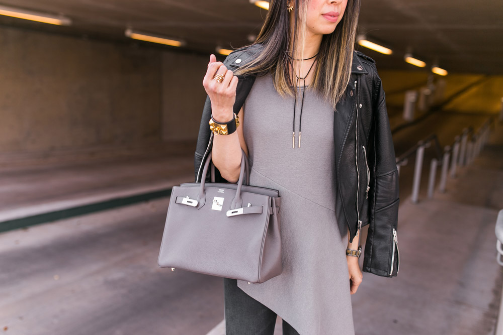 grey and black outfit, brochu walker asymmetrical hem top with hermes birkin 30 etaine and black blanknyc moto jacket