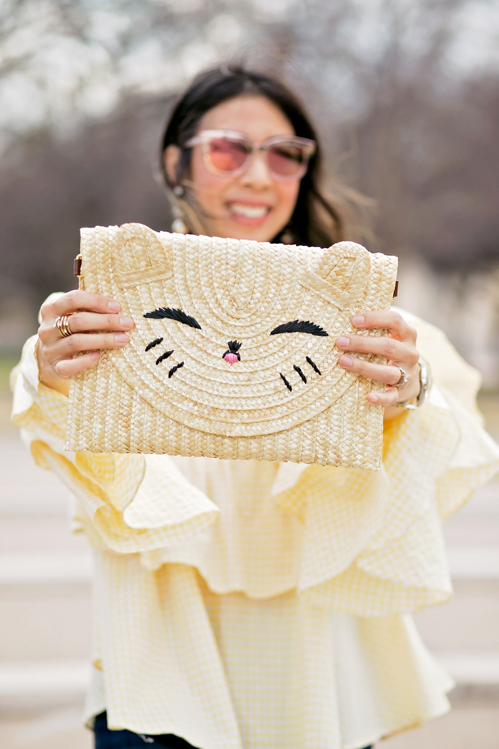 happy cat straw clutch, spring outfit idea