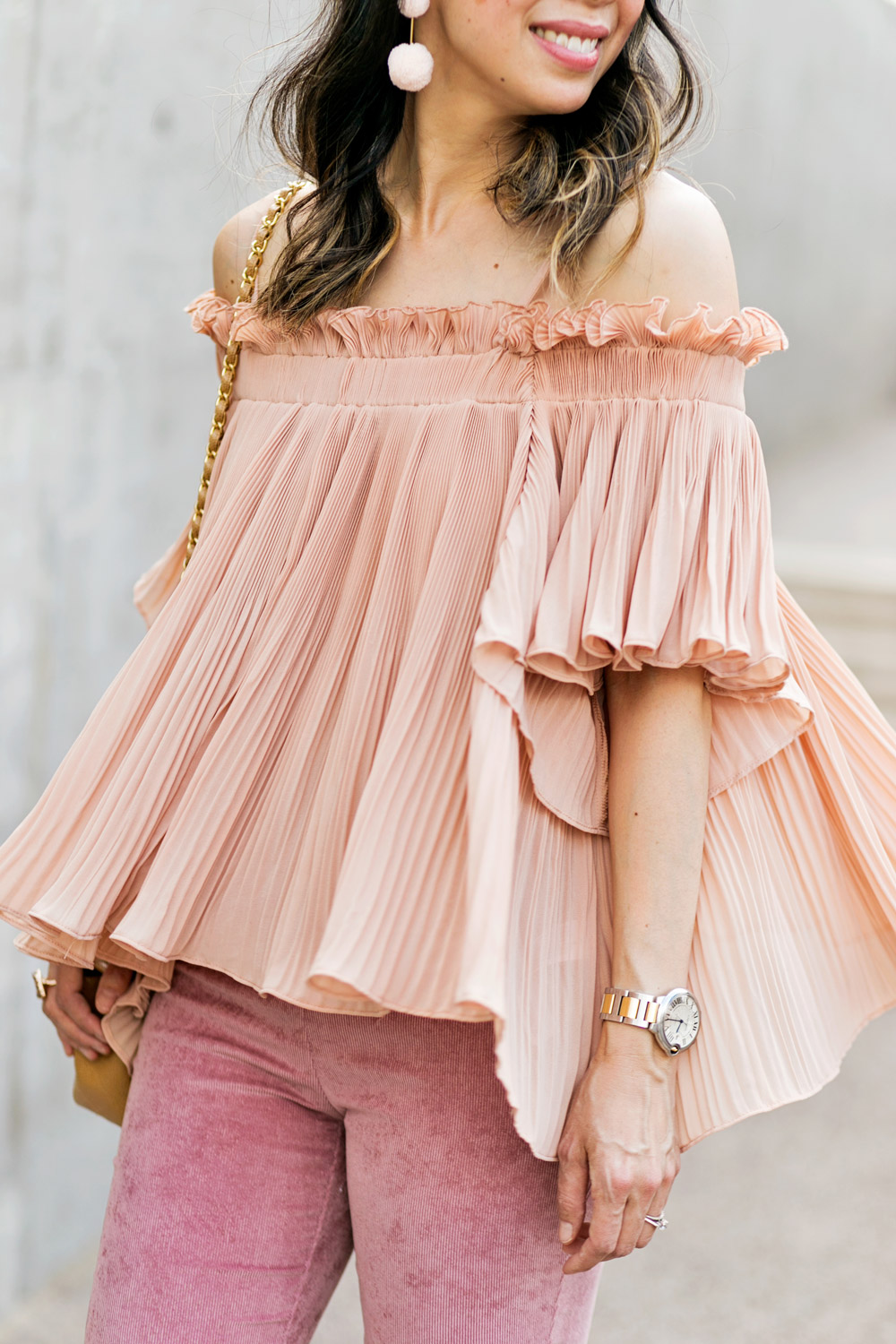 baublebar bahama pink pom pm earrings with endless rose pink pleated off the shoulder top, spring outfit idea