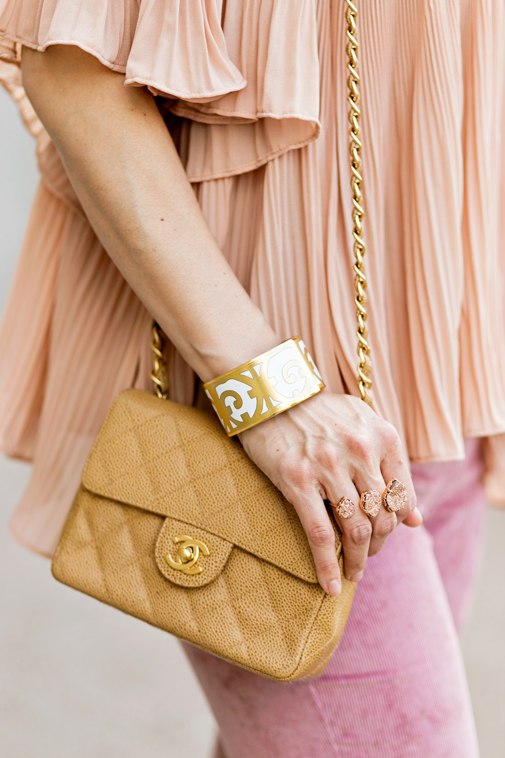 endless rose pink pleated off the shoulder top and pink flare corduroy pants, chanel caviar mini flap, spring outfit idea