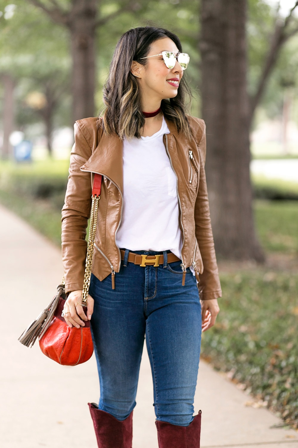 blanknyc faux leather jacket with white tee, hermes belt, NYDJ alina uplift skinny jeans, and chloe boudoir bag