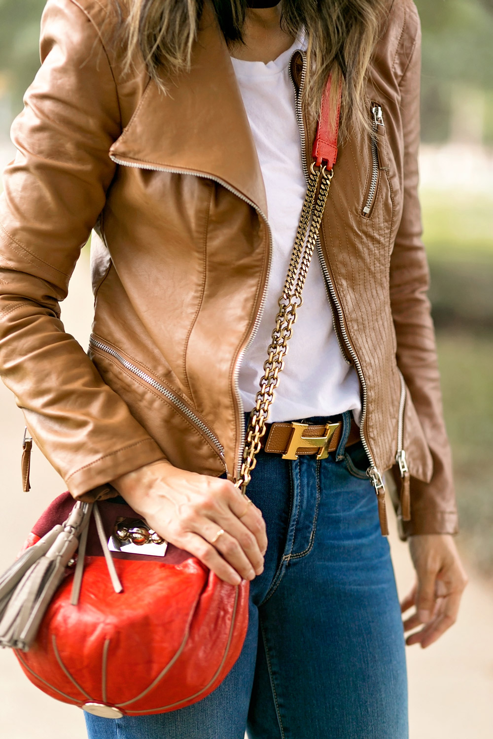 blanknyc faux leather jacket with white tee, hermes belt, NYDJ alina uplift skinny jeans