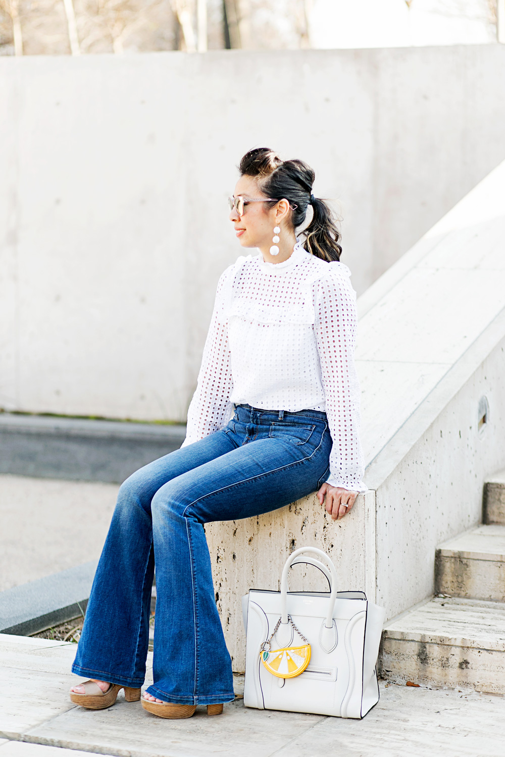 who what wear x target eyelet top w/ baublebar crispin drop earrings and jbrand flare jeans, celine white luggage tote, how to make a cheap top look expensive
